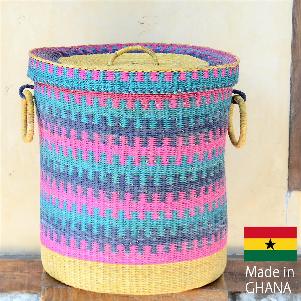 アフリカのランドリーバスケット 収納かご ふた付き/特大サイズ/ブルー・ピンク・ナチュラル/筒型/ボルガバスケット/水草/天然素材使用/現品販売