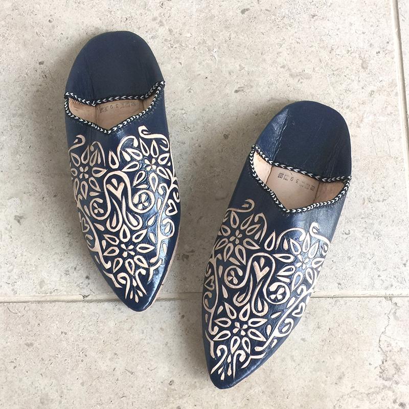 Morocco Babouche とんがりバブーシュ・アラベスク/ネイビー/24cmMoroccan Slippers/バブーシュ・レザー・スリッパ/革のスリッパ/羊革/モロッコ製