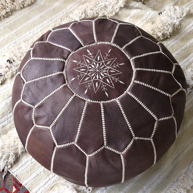 Morocco Leather Ottoman モロッコのオットマン・プフφ50x30cmブラウン/山羊革・モロッコ製