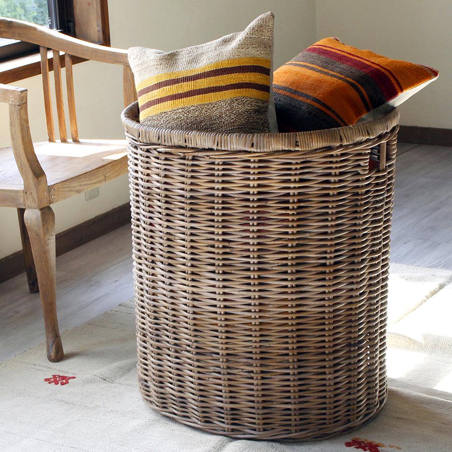 バスケット・コボグレー楕円形特大サイズ ランドリーバスケット H70×W63×D50cm/rattan basket big size