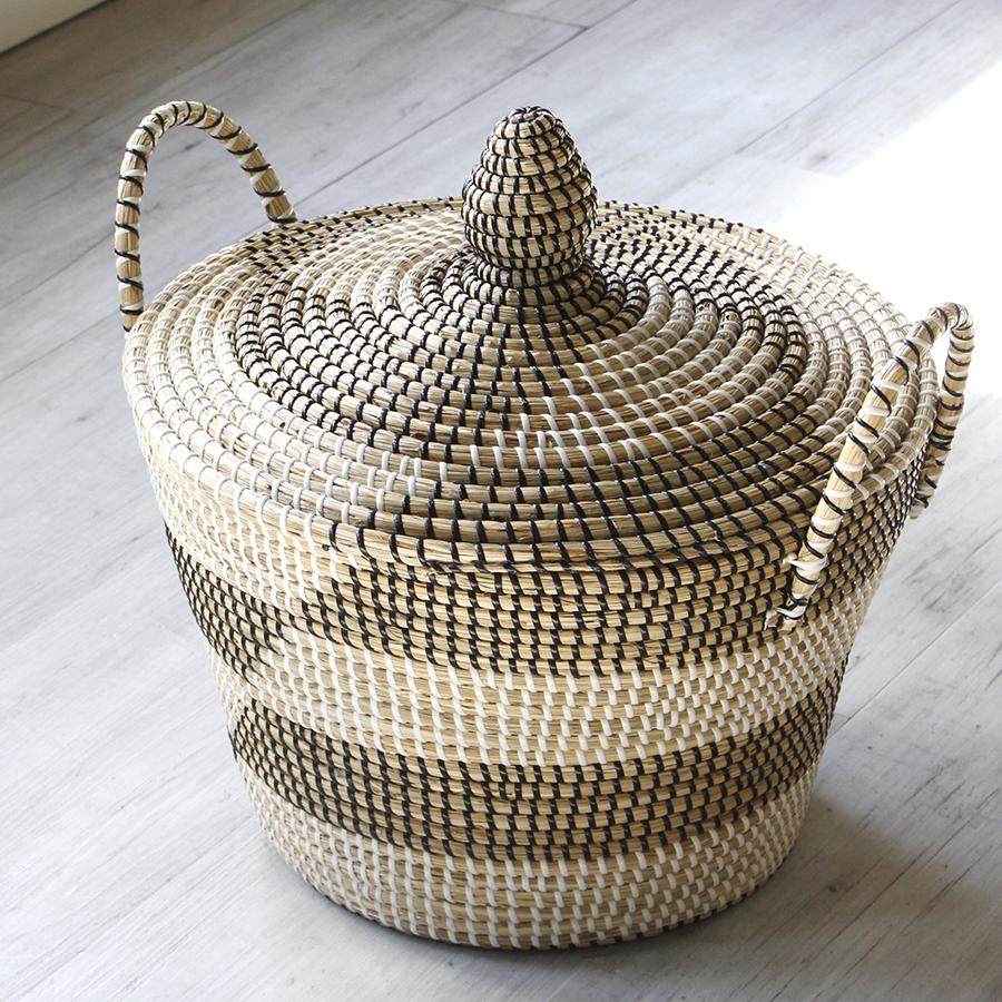 シーグラスバスケット・ふた付き・手付き・円柱型・収納かご/直径41cm高さ43cm/Seagrass basket Cylindrical