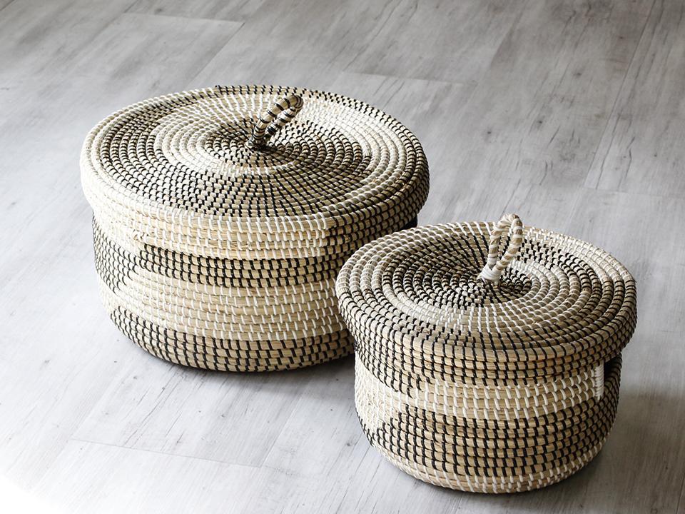 シーグラスバスケット・ふた付き・丸型・収納かご2点セット/直径42&33cm高さ24&20cm/seagrass basket round 2set
