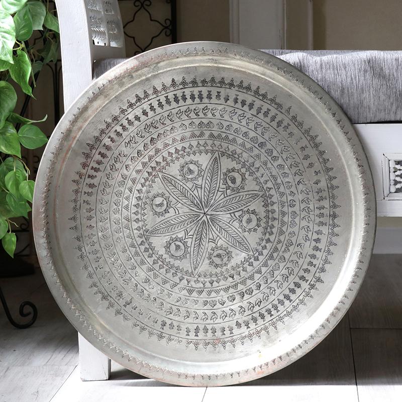 アナトリアの家具 銅製のトレイ・丸盆直径53cm/手作り・手彫り Turkish Nomadic round tray, Moroccan tray table, Hand made