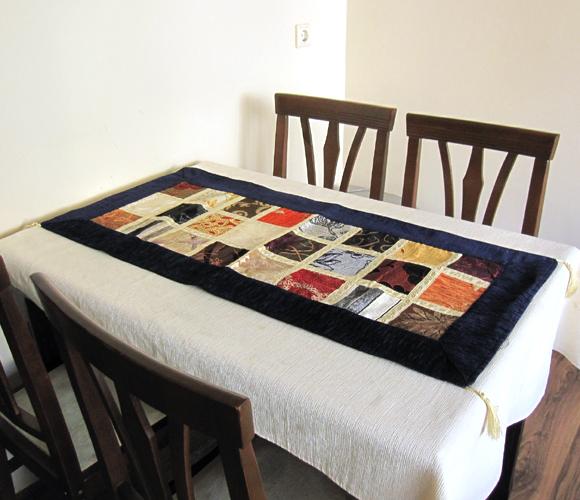テーブルランナー・ベッドスロー 105×47cmモザイクステンドグラス・ネイビー Table runner, Bed through, Turkish textile, トルコ製ファブリック