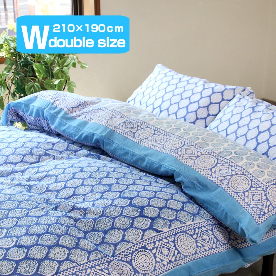 掛けふとんカバー 210x190cm ダブルサイズ 両面木版ブロックプリント 信託 コンフォーターケース インド 商店 リーフ ブルー