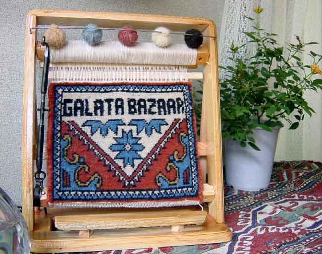 オーダーメイド・お名前入れます!絨毯織り機のミニチュア・ウェルカムカーペット