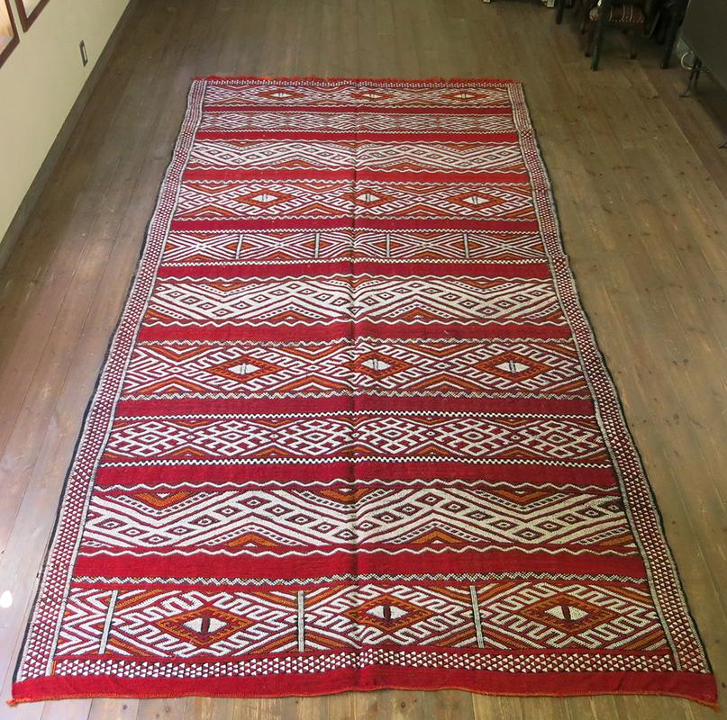 オールドキリム・モロッコベルベル族のキリム321×174cmゼモール/レッドにジジム織りの伝統柄