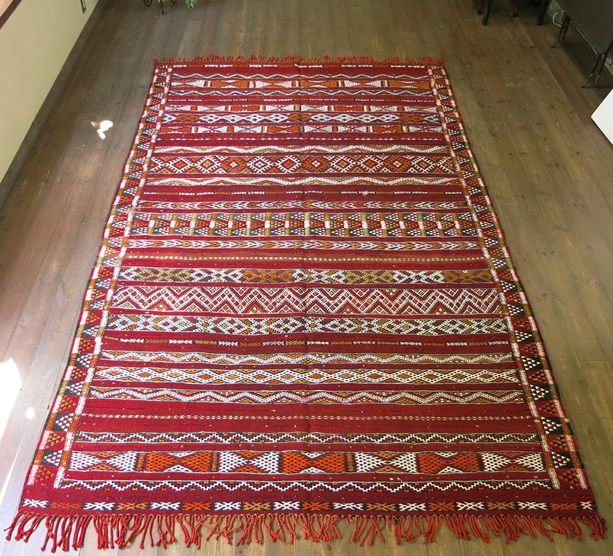 オールドキリム・モロッコベルベル族のキリム282×177cmゼモール/レッドにジジム織りの伝統柄