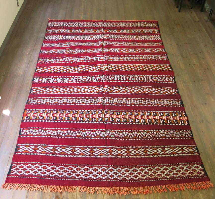 オールドキリム・モロッコベルベル族のキリム290×174cmゼモール/レッドにジジム織りの伝統柄