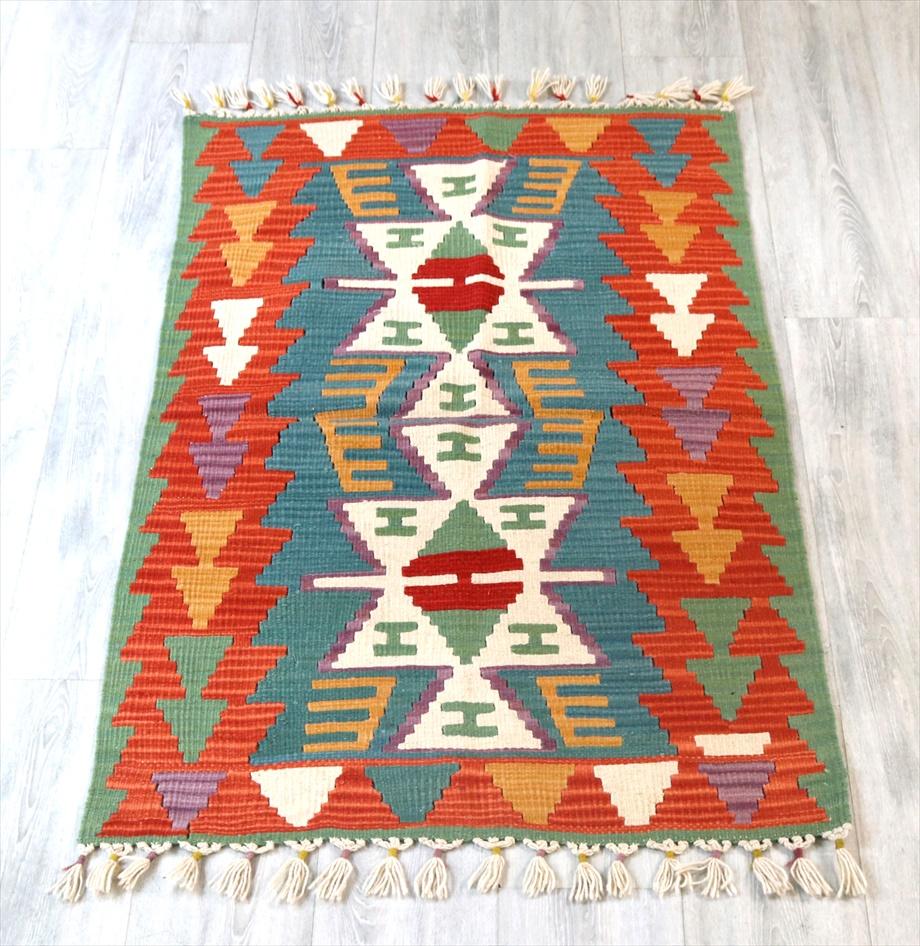 手織りのスタンダードカイセリキリム/チェイレキ127×78cm2つのイーブルアイ ブルーグリーン/レンガ色