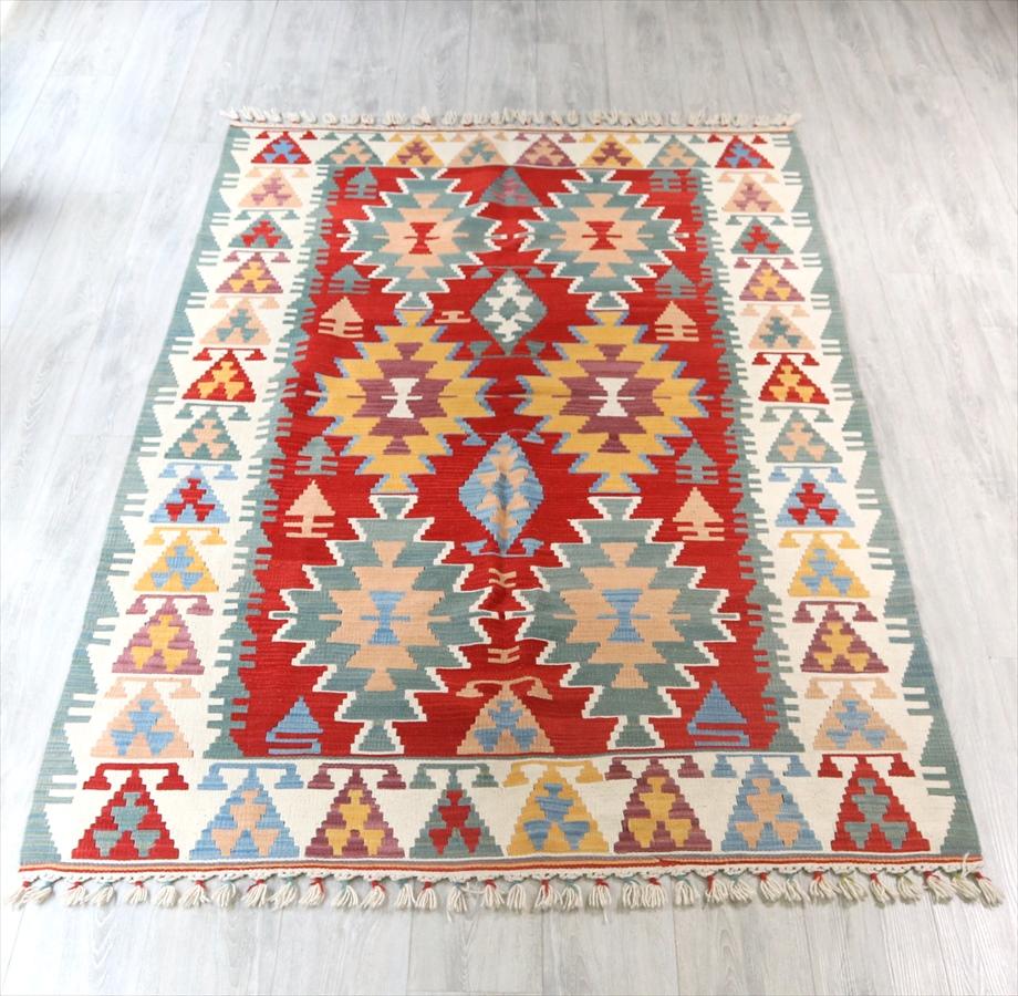 トルコキリム・手織りのウール100%カイセリキリム・カリヨラサイズ・237×141cmレンガ色/アイボリー 6つのイーブルアイ キリム ラグ