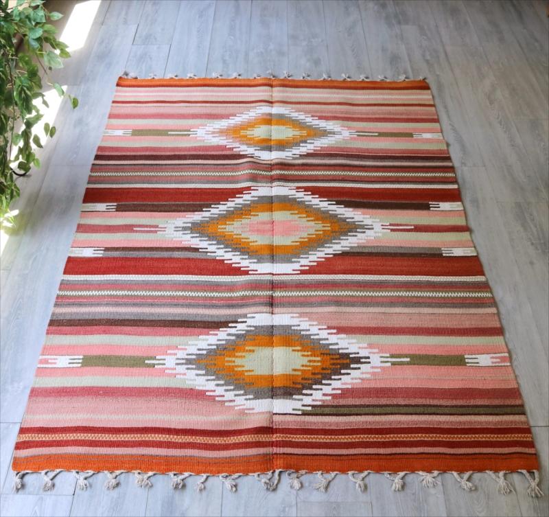 オールドキリム・アダナ/カリヨラ203×135cm3つのダイヤ・チフカナットキリム/ピンク&オレンジ