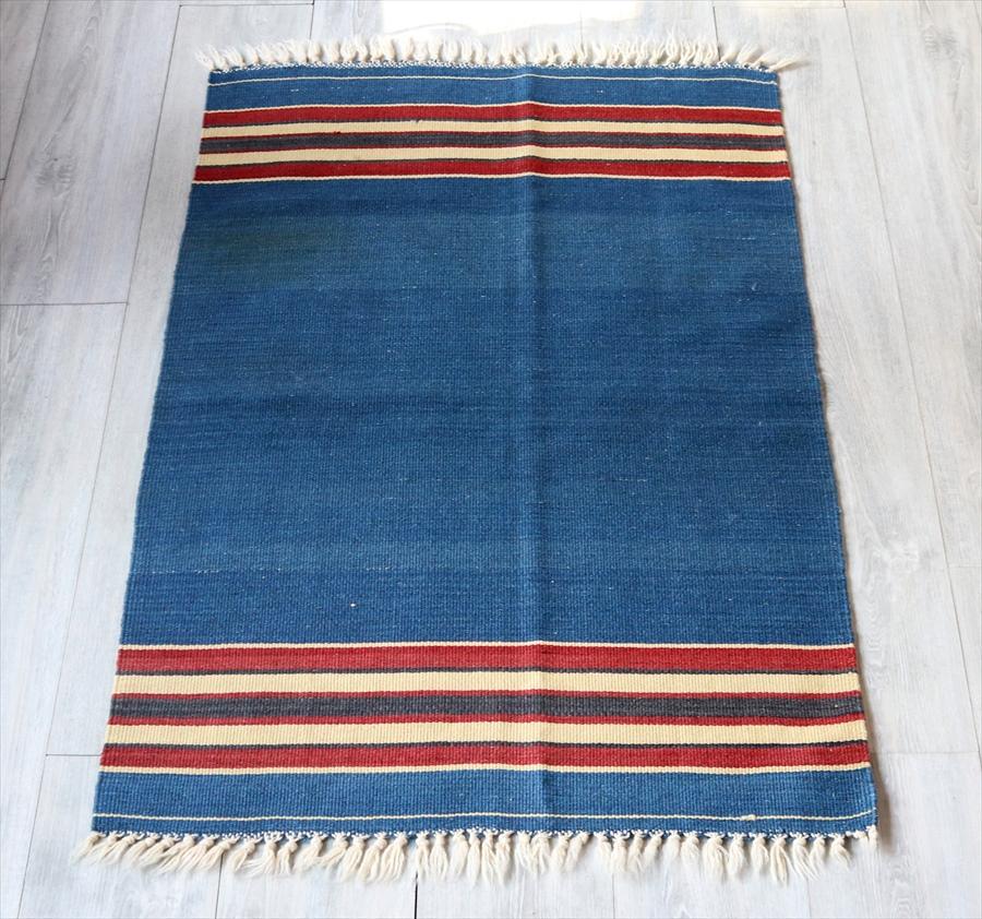 ウシャクキリム・チェイレキサイズ116×75cmシンプルなブルー