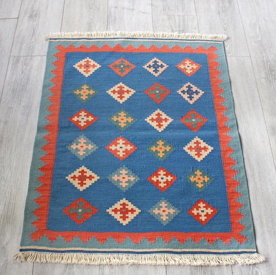 イラン手織りラグ・カシュカイキリム玄関マットサイズ87×67cmヤストゥクサイズ・ブルー/レッド&ブルーグリーン ひし形モチーフ