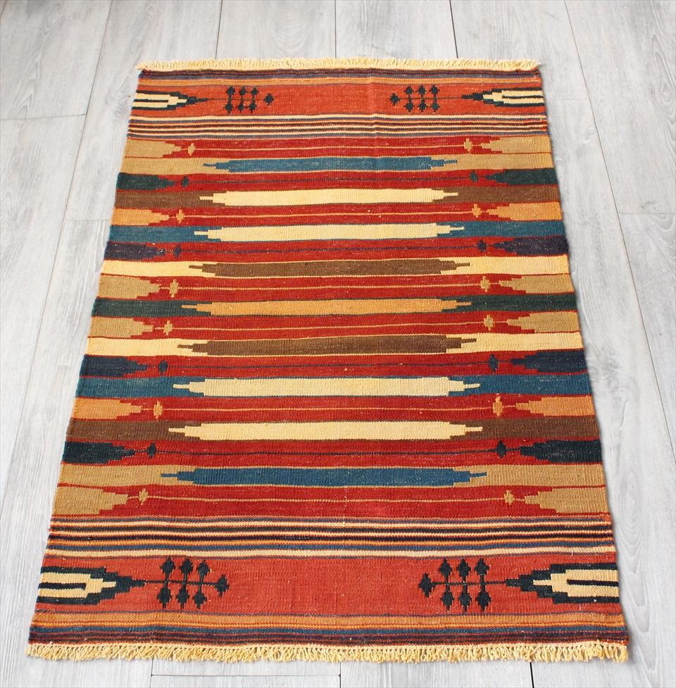 草木染の細かな織り・ハイクオリティのカシュカイキリム91×58cm麦の穂・アースカラー