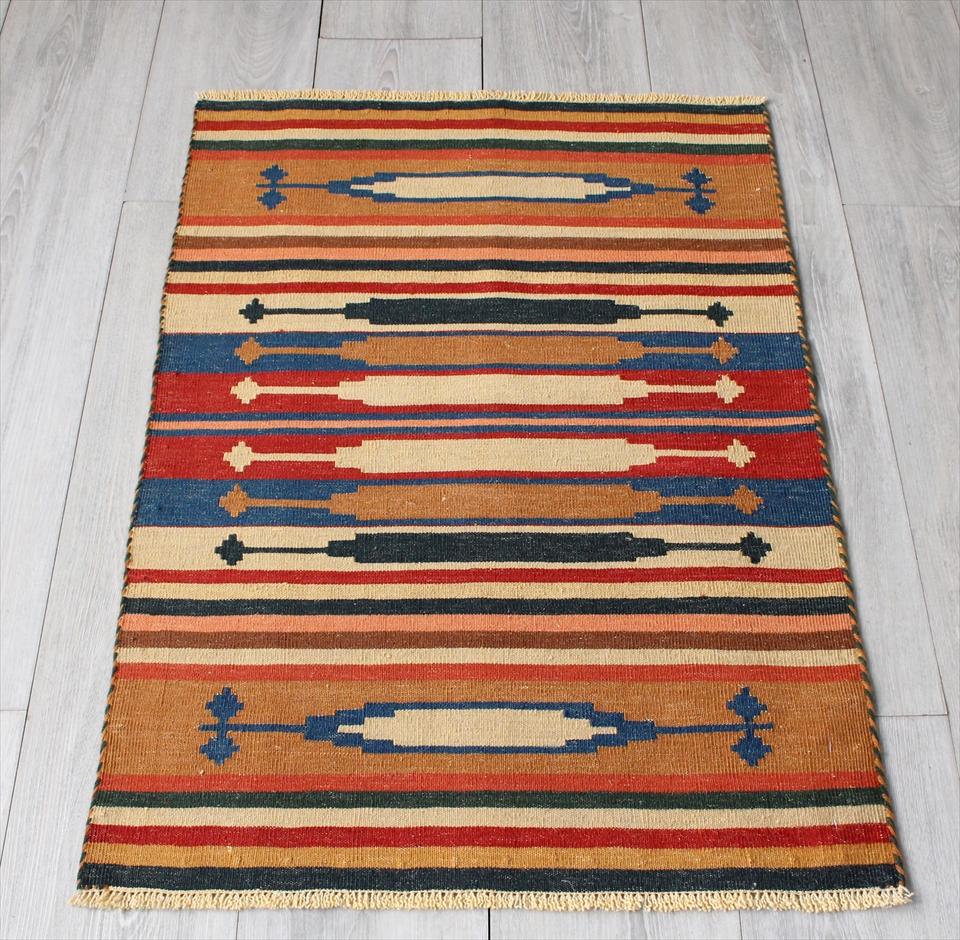 草木染の細かな織り・ハイクオリティのカシュカイキリム88×60cm麦の穂・ブラウン&ブルー