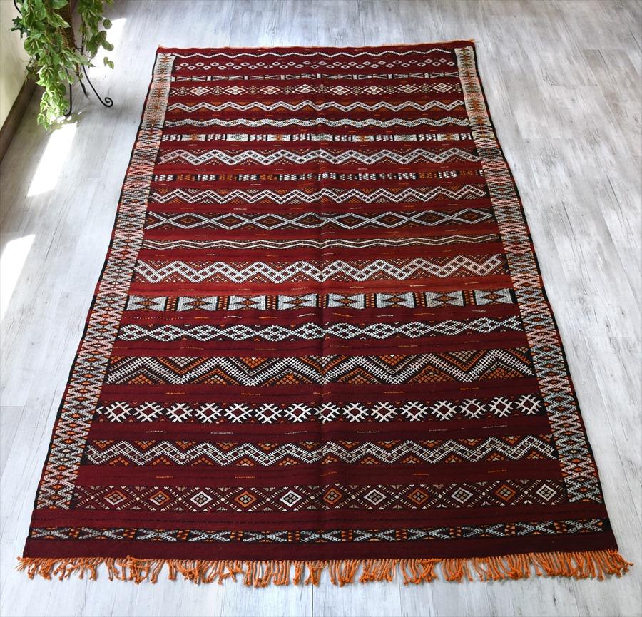 オールドキリム・モロッコベルベル族のキリム287×165cmゼモール/レッドにジジム織りの伝統柄
