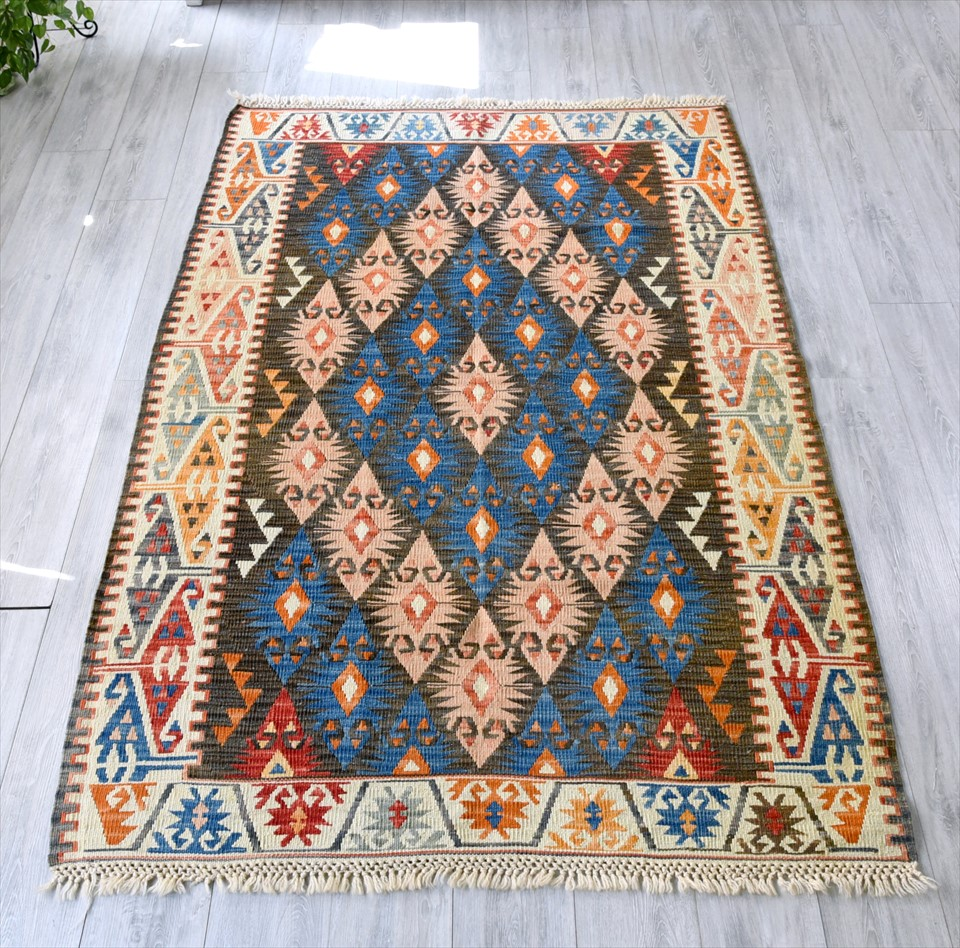 色にこだわる~ワンランク上のカイセリ産手織りキリム209×140cmエリベリンデ