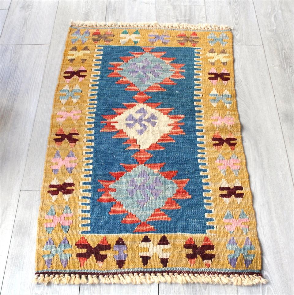色にこだわる~ワンランク上のカイセリ産手織りキリム98×56cmブルーグリーン&イエロー