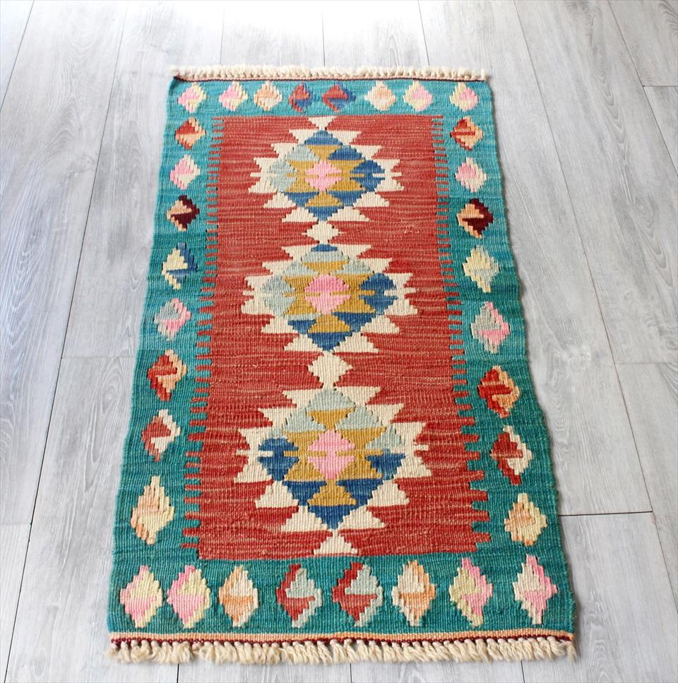 色にこだわる~ワンランク上のカイセリ産手織りキリム104×53cmレッド&ブルーグリーン