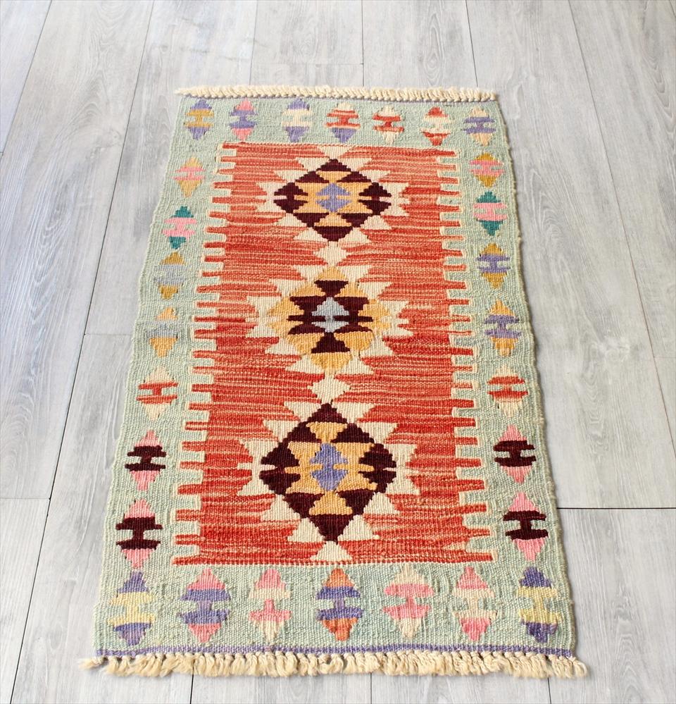 色にこだわる~ワンランク上のカイセリ産手織りキリム96×52cmレッド&ライトブルー