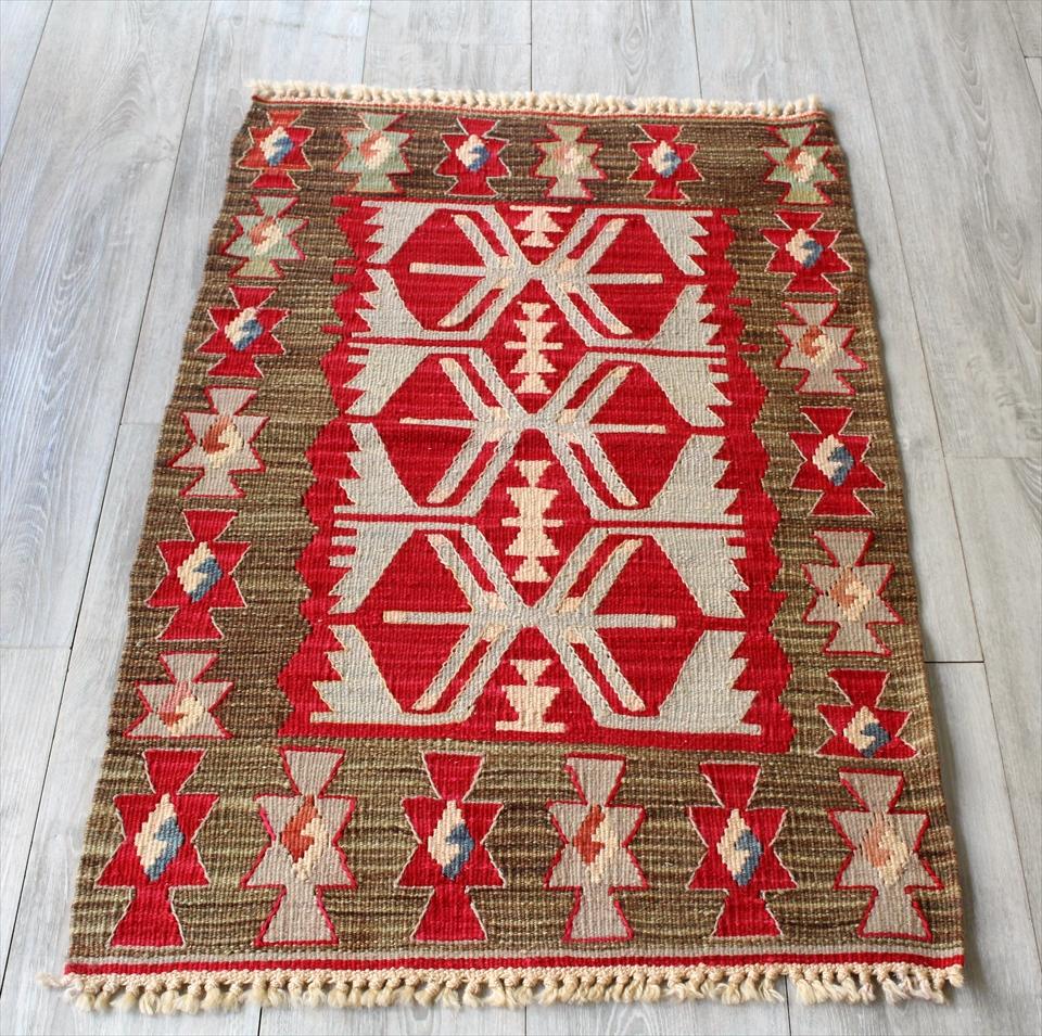 色にこだわる~ワンランク上のカイセリ産手織りキリム104×65cmレッド&ブラウン