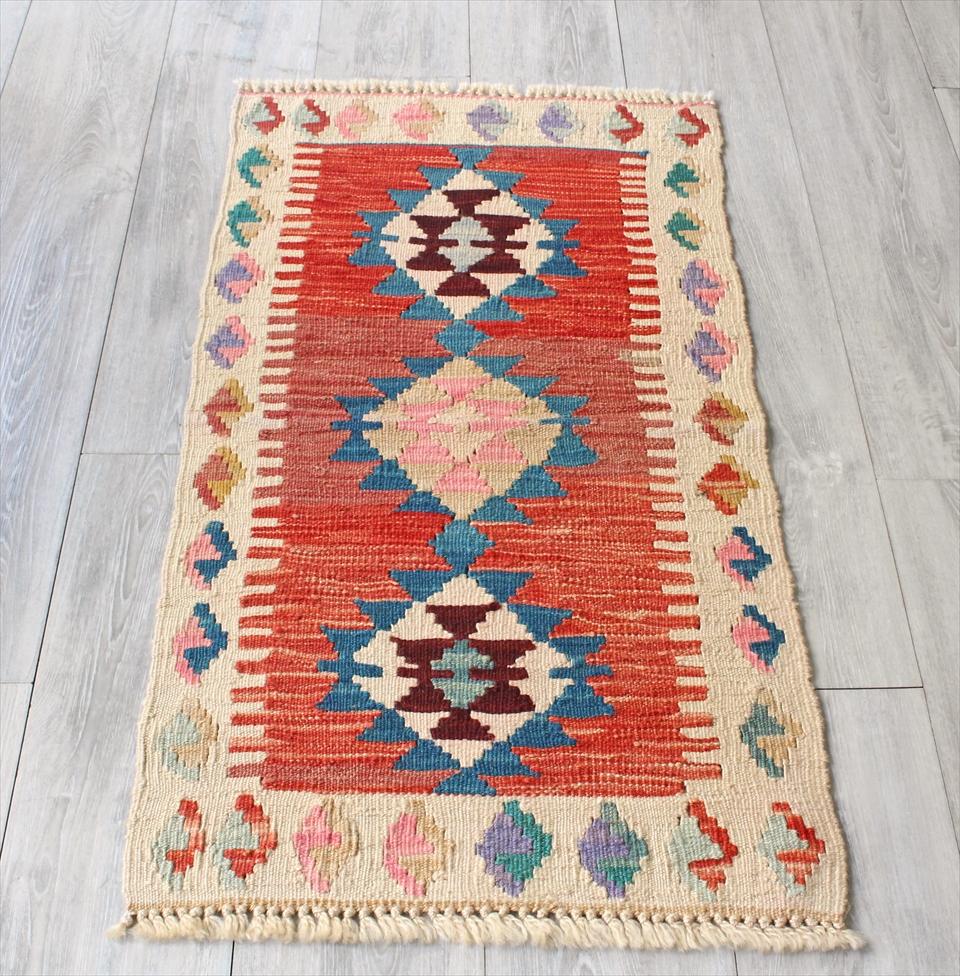 色にこだわる~ワンランク上のカイセリ産手織りキリム103×55cmレッド&ナチュラルアイボリー