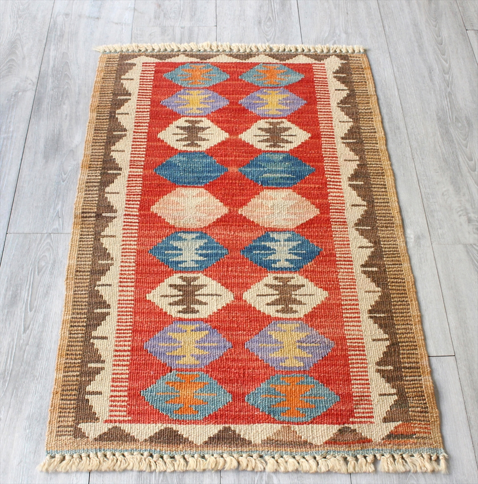 色にこだわる~ワンランク上のカイセリ産手織りキリム95×59cmレッド&ブラウン