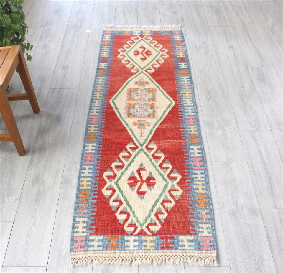 色にこだわる~ワンランク上のカイセリ産手織りキリム192×62cmレッド&ブルー 3つのメダリオン