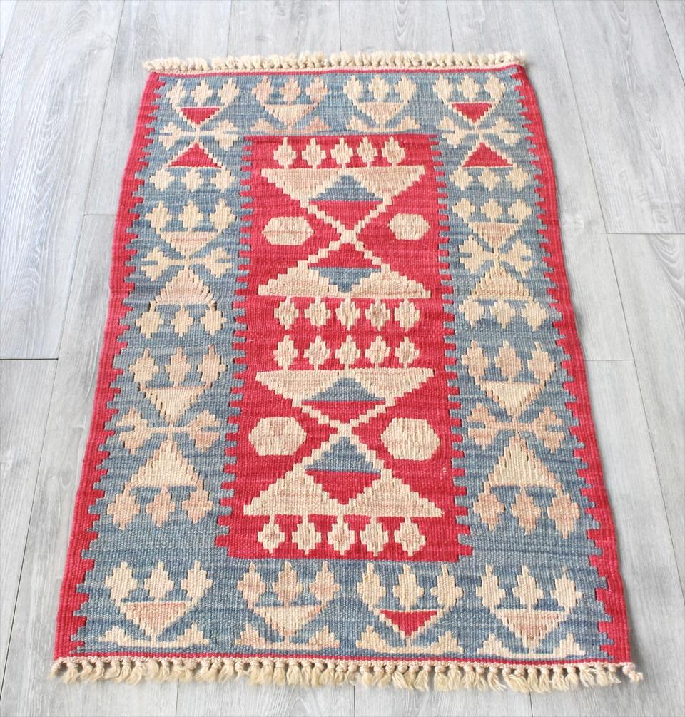 色にこだわる~ワンランク上のカイセリ産手織りキリム101×61cmブルー&ローズピンク