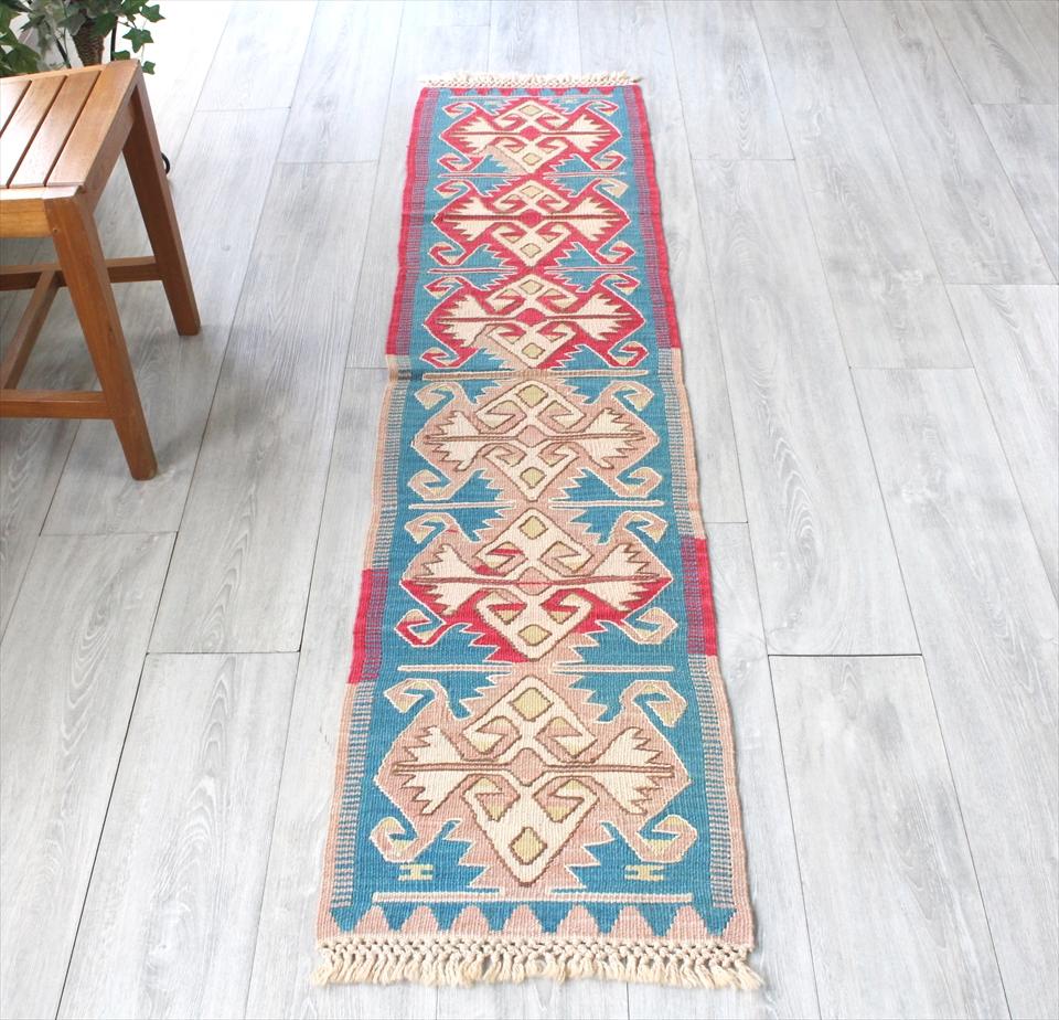 色にこだわる~ワンランク上のカイセリ産手織りキリム190×43cmピンク&ブルー/6つのエリベリンデ