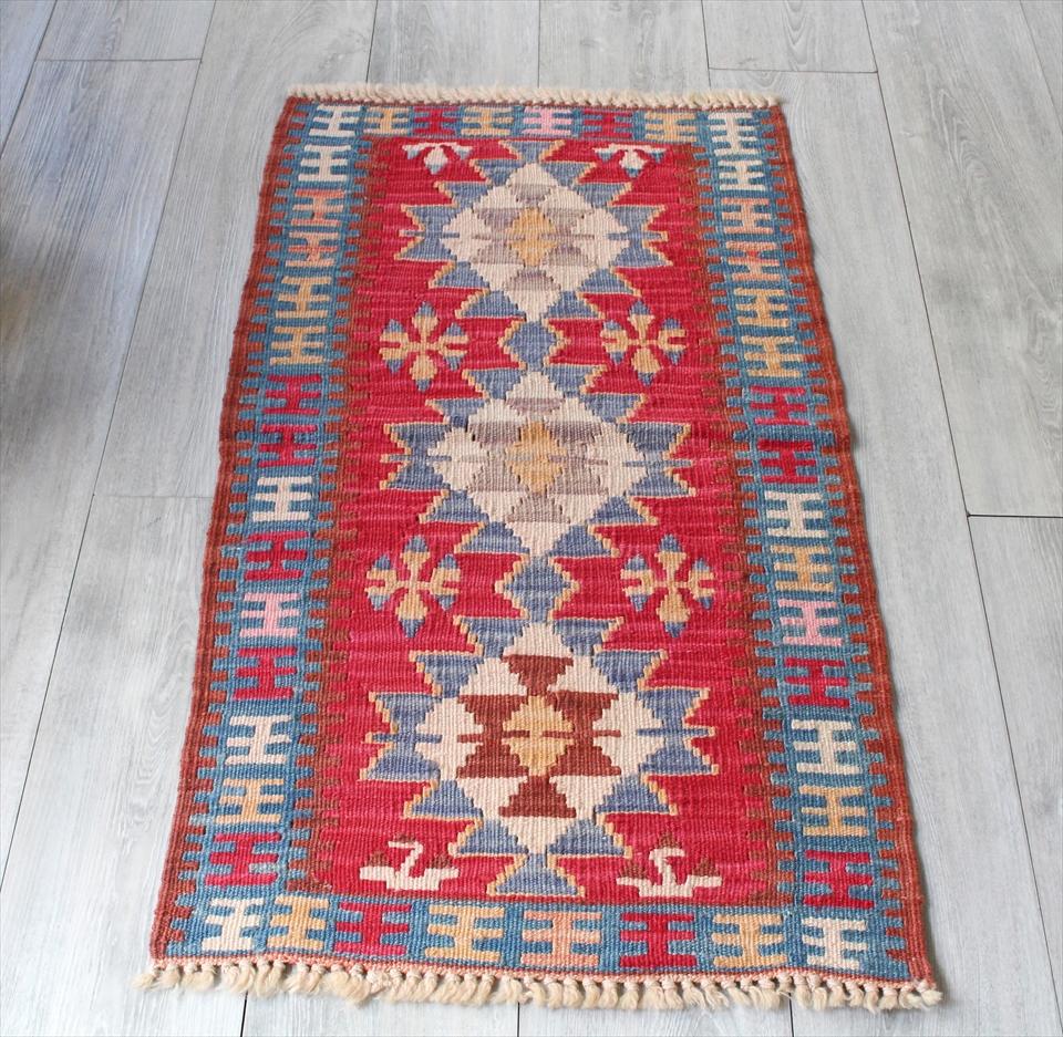 色にこだわる~ワンランク上のカイセリ産手織りキリム99×54cmピンク&ブルー
