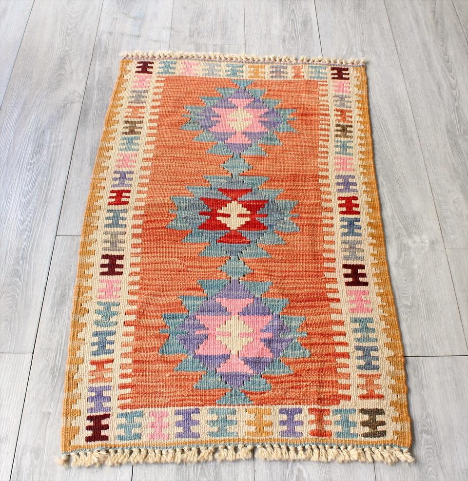 色にこだわる~ワンランク上のカイセリ産手織りキリム96×57cmオレンジ&アイボリー