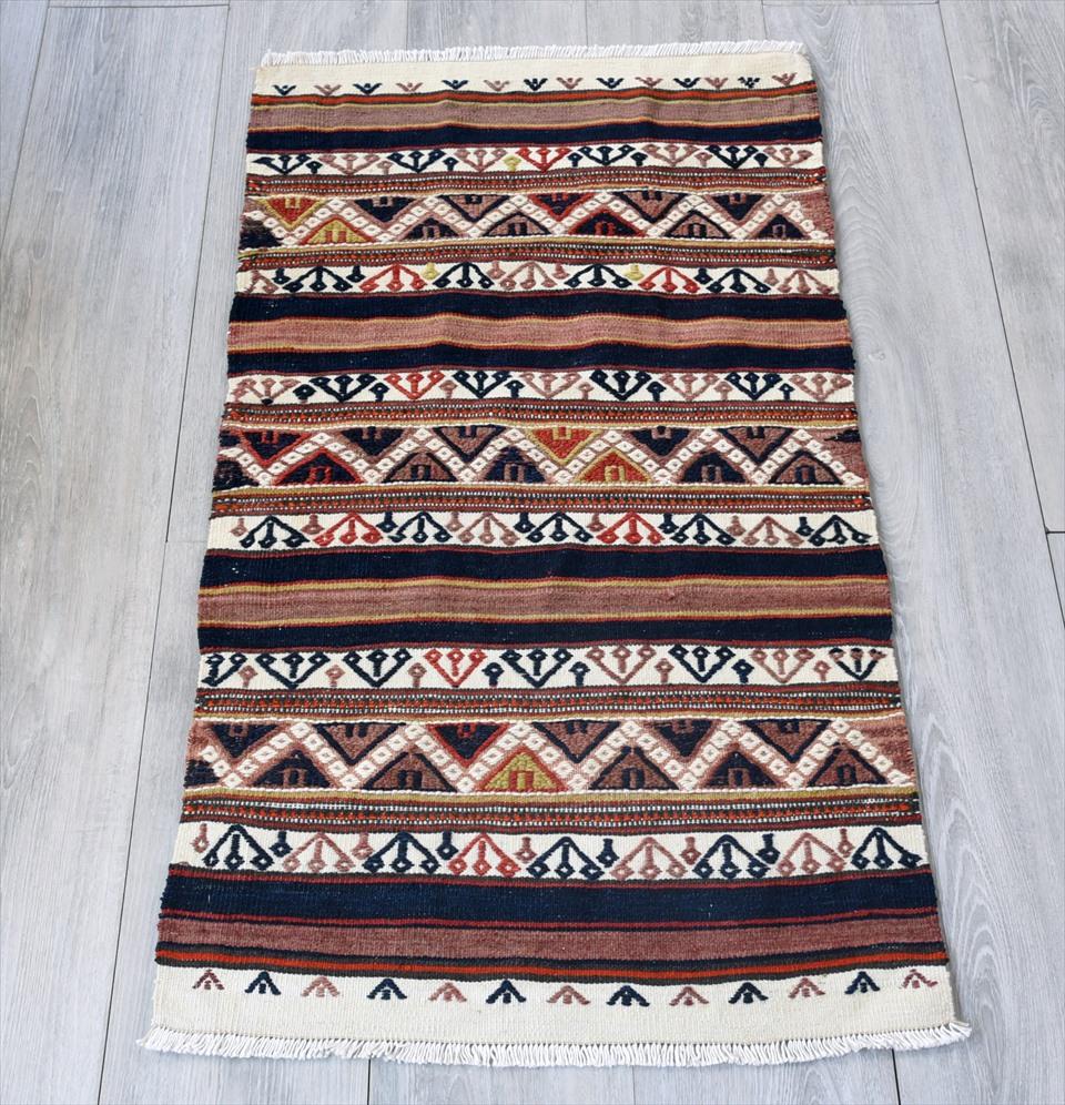 オールドキリム・ベルガマ 収納袋のチュアル97×56cm赤と紺・ナチュラル ジグザグのスマック織り