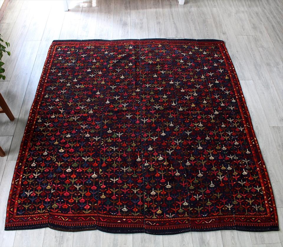 オールドジジムキリム・アゼルバイジャン ヴェルネ195×180cm細かなジジム織りの見事な装飾 深いネイビー