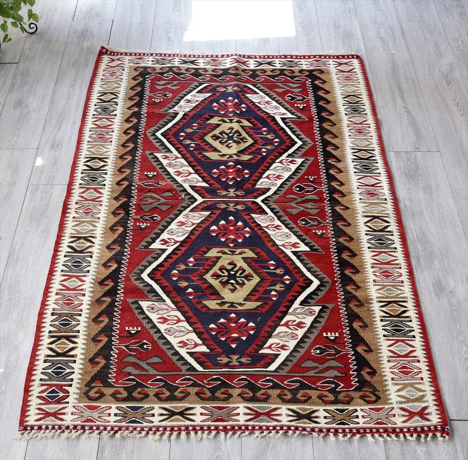 アダナキリム・バフチェジック/トルコ手織りキリムウール100%196×104cm2つのエリベリンデ 鮮やかなレッド&ブラック