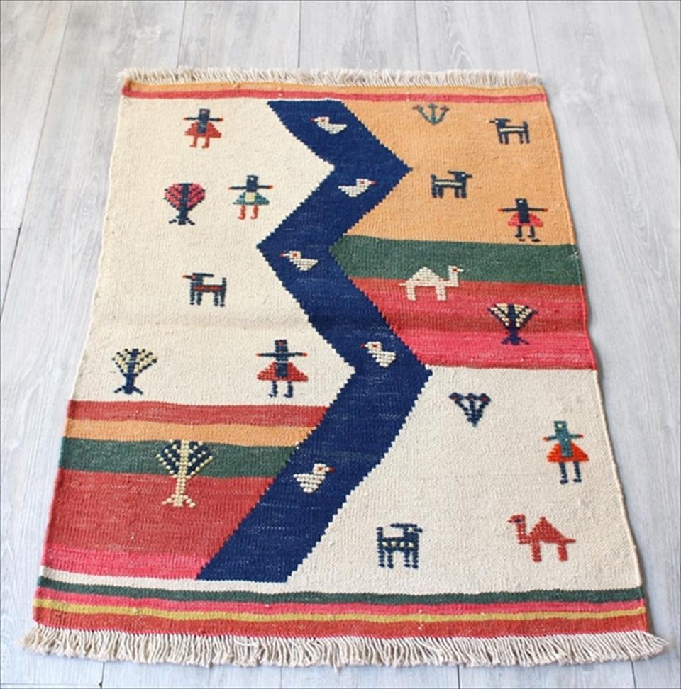 カシュカイ族の織るギャッベキリム・ヤストゥクサイズ 玄関88×64cm/アイボリー&カラフル 山の見える遊牧民の暮らし