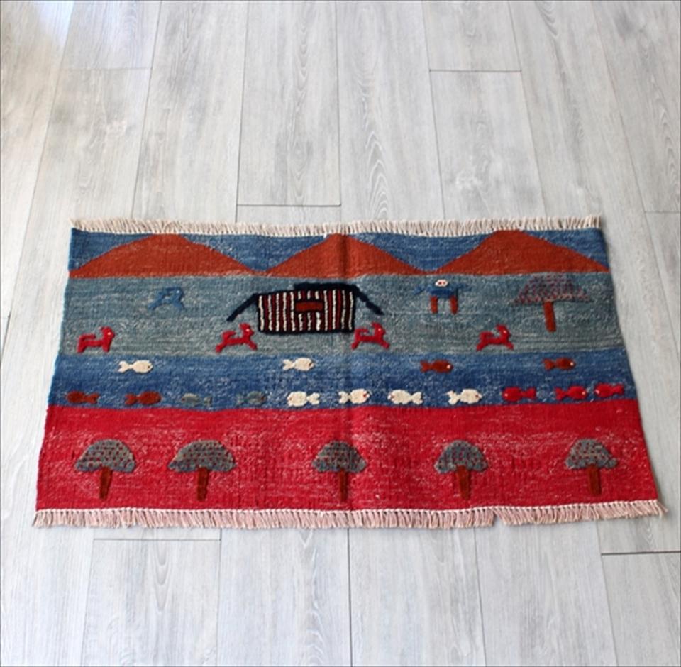 カシュカイ族の織るギャッベキリム・ヤストゥクサイズ 玄関86×53cm/レッド&ブルー&グリーン 山の見える遊牧民の暮らし