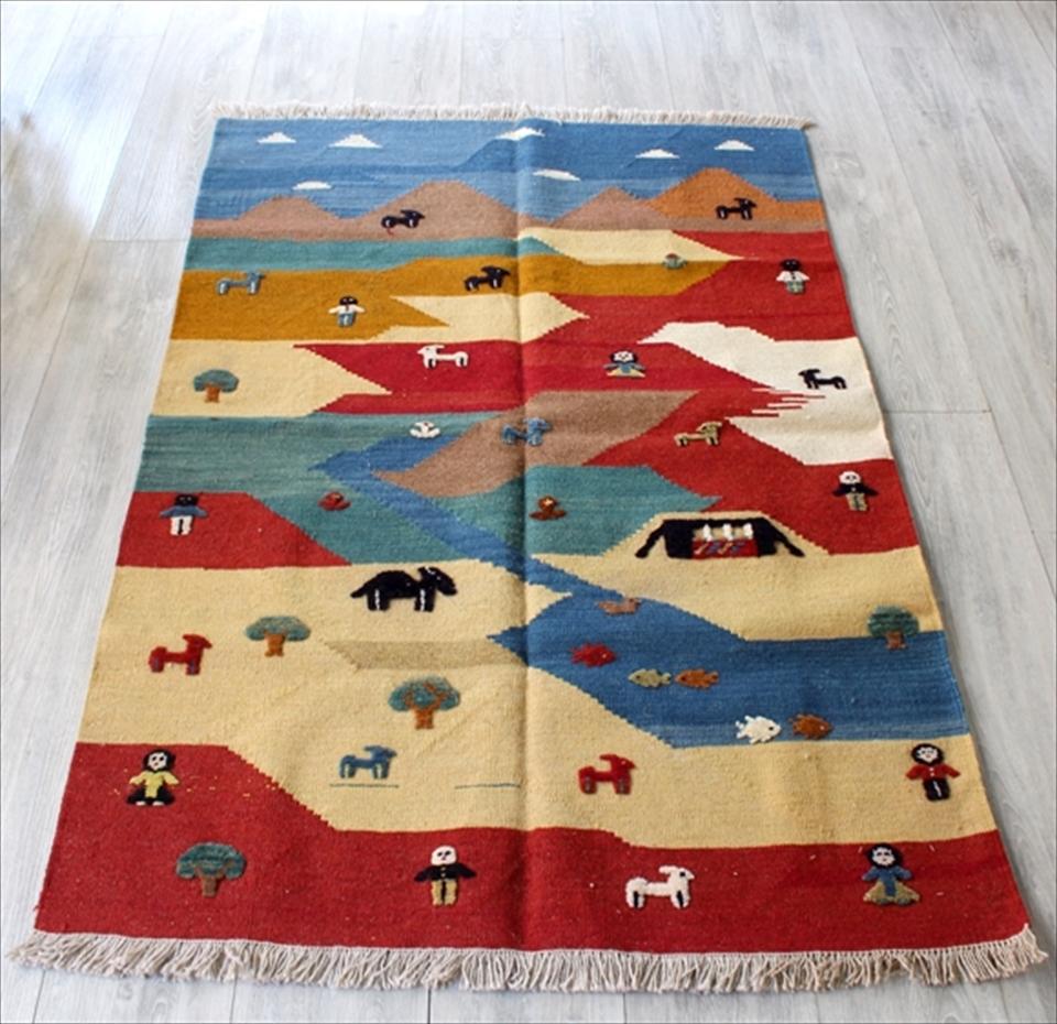 カシュカイ族の織るギャッベキリム・チェイレキサイズ148×102cm/カラフル  山の見える遊牧民の暮らし
