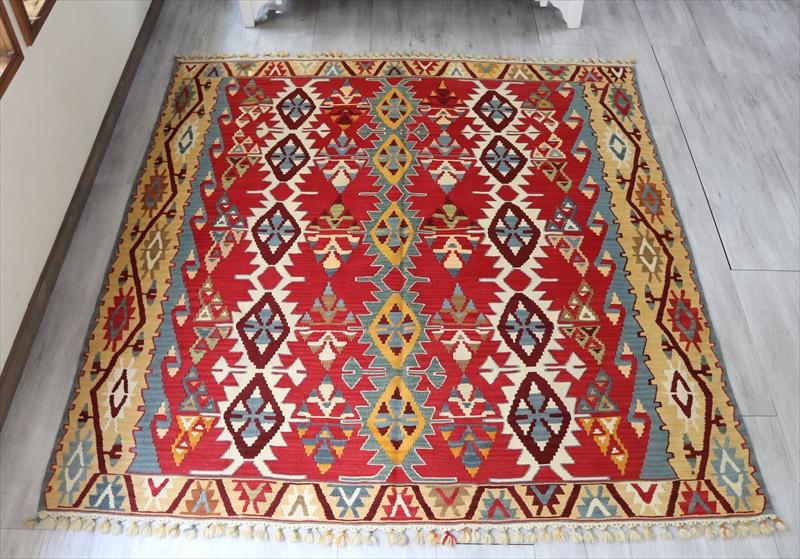 カイセリ産トルコ手織りキリム・幅の広いリビングサイズ191×178cm15のサンドゥック