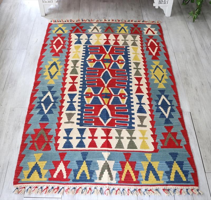 トルコキリムカイセリ産手織り・セッヂャーデ179×117cm明るいレッド&ブルー