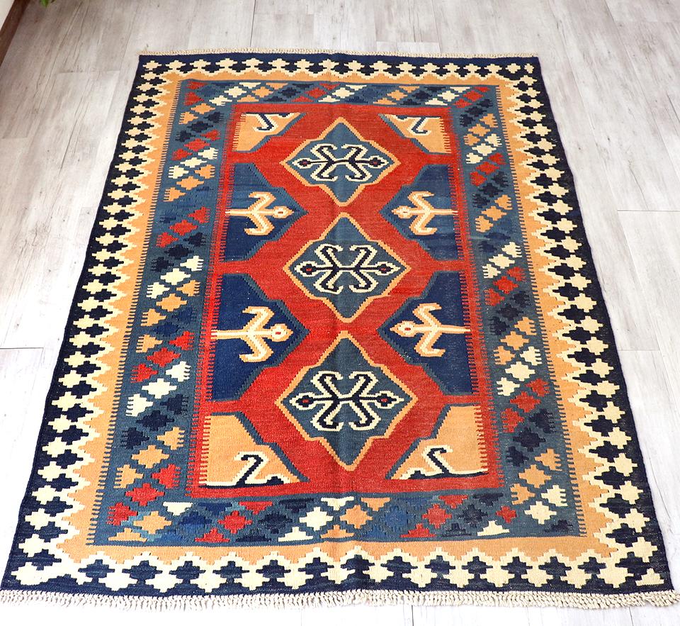 カシュカイ族の手織りキリム・セッヂャーデ193×142cmカラフルモチーフ