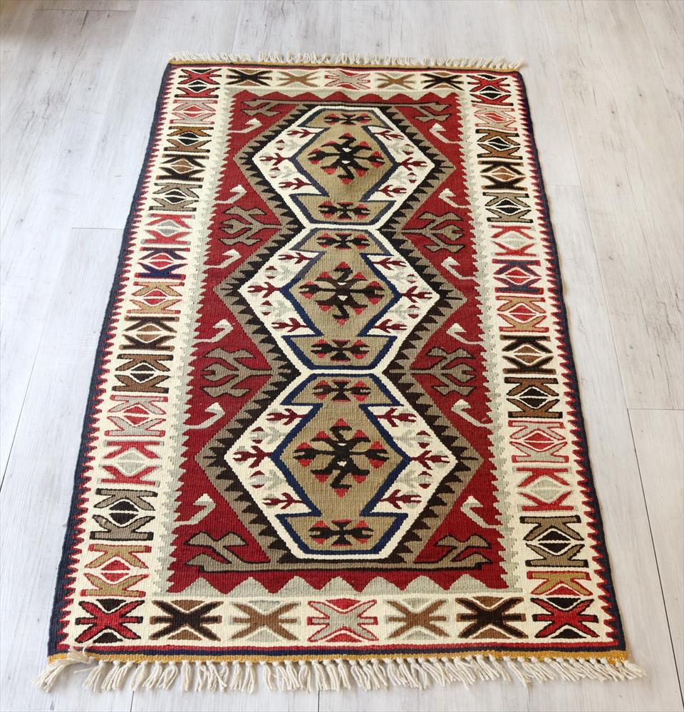 アダナキリム/トルコ手織りキリム ウール127×75cmチェイレキ 3つのエリベリンデ
