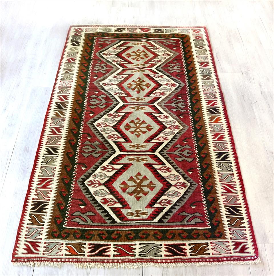 アダナキリム/トルコ手織りキリム ウール187×107cmセッヂャーデ 4つのエリベリンデ