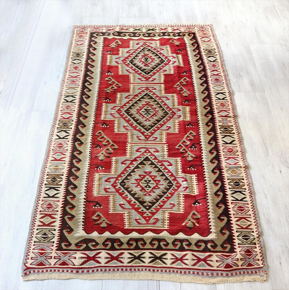 アダナキリム/トルコ手織りキリム ウール188×103cmセッヂャーデ 3つの階段状メダリオン
