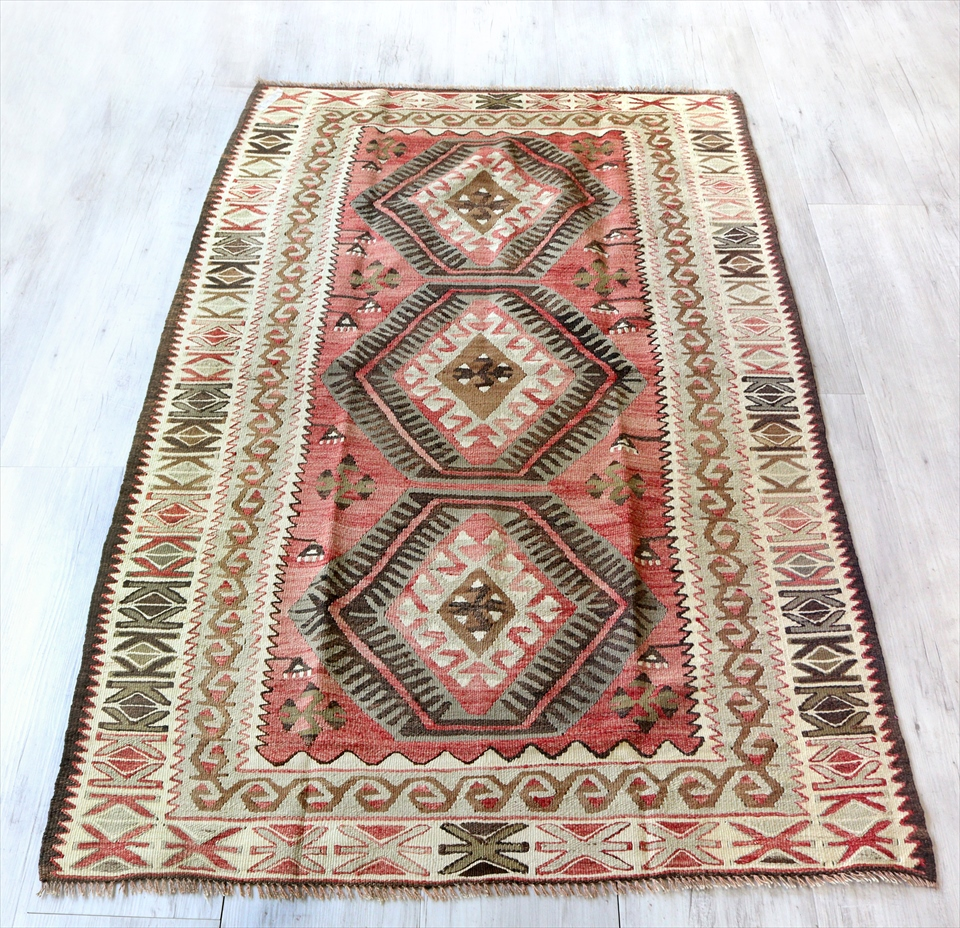 アダナキリム(セミオールド)トルコ手織りキリム ウール173×108cmセッヂャーデ 3つのメダリオン