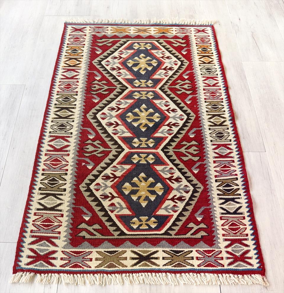 アダナキリム/トルコ手織りキリム ウール124×72cmチェイレキ 3つのエリベリンデ