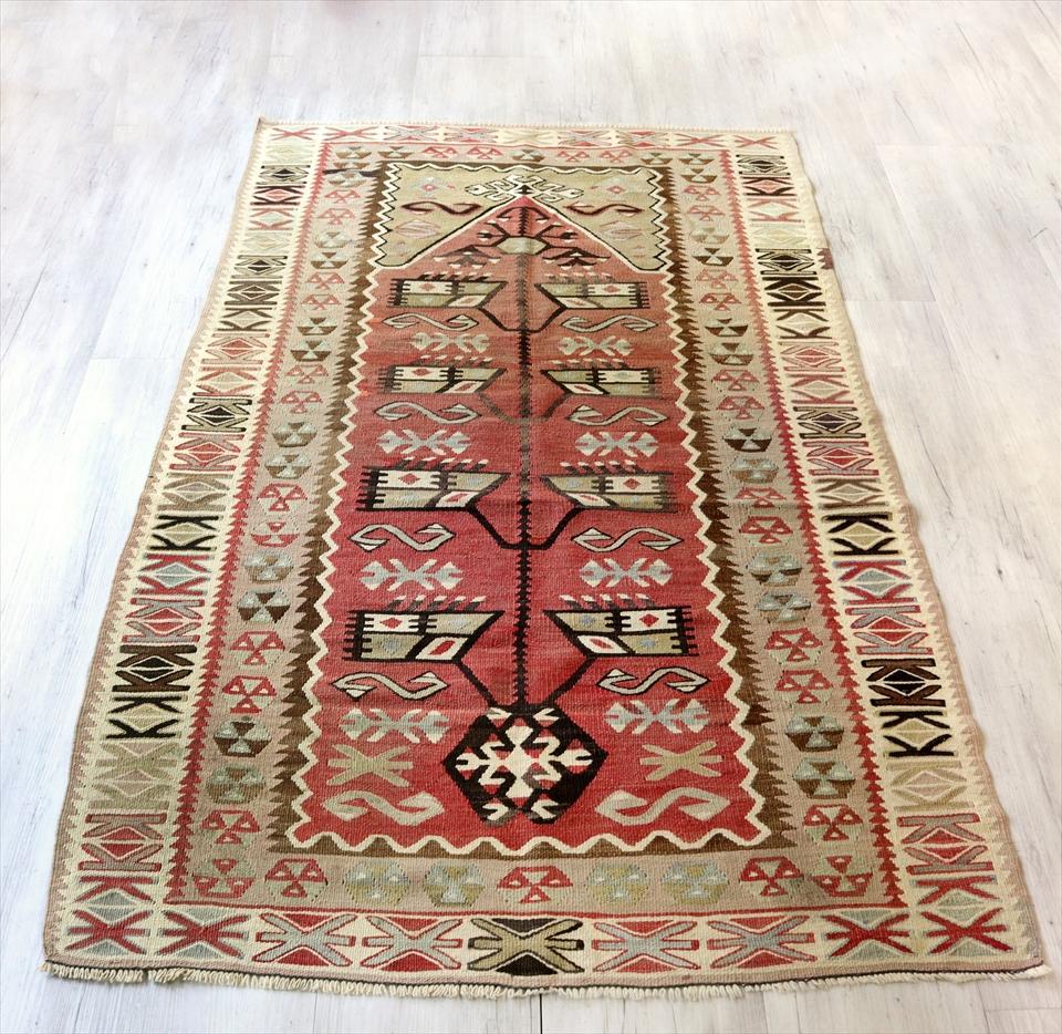 アダナキリム(セミオールド)トルコの手織り ウール173×108cmセッヂャーデ ミフラープ 色あせたレッド&グリーン