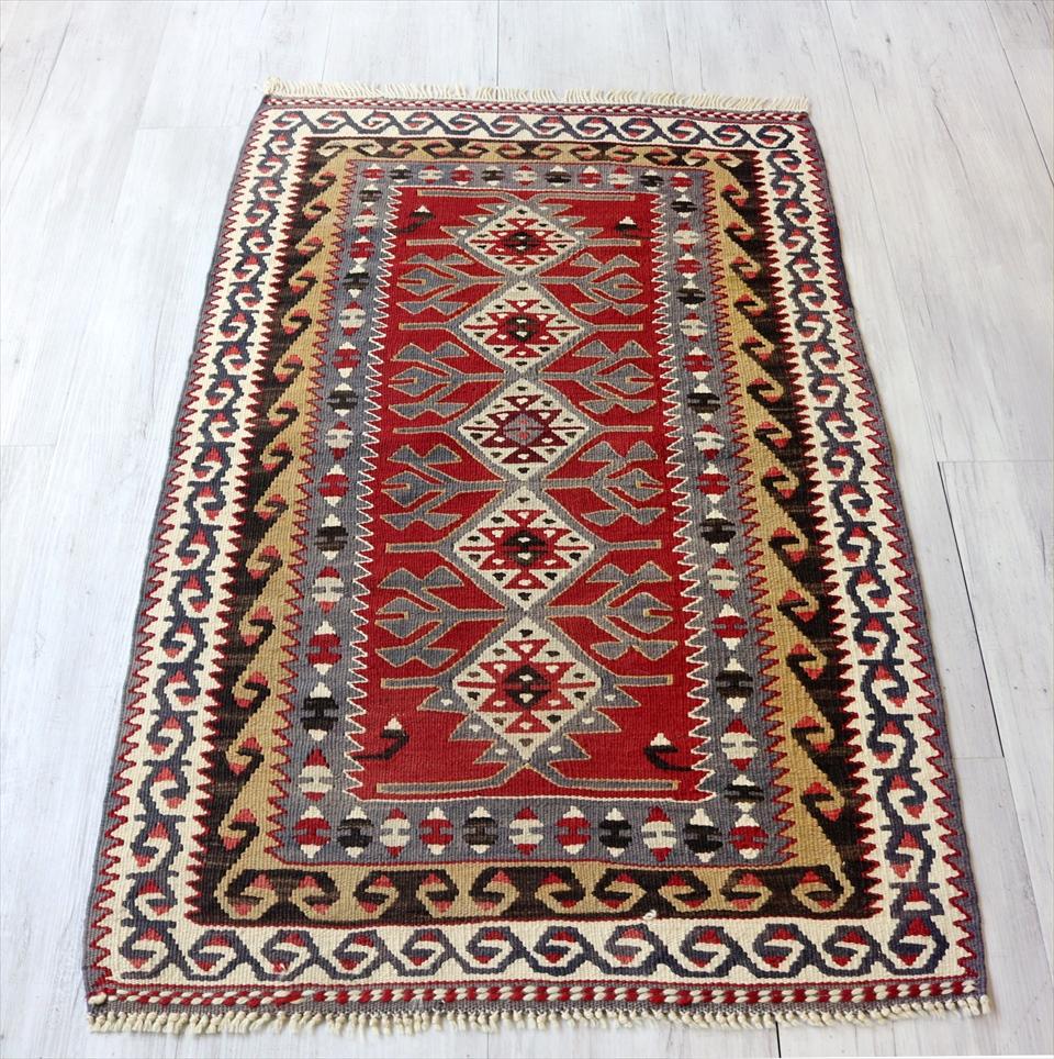 トルコキリム・アダナ/手織り ウール100%115×74cmチェイレキ・エリベリンデ