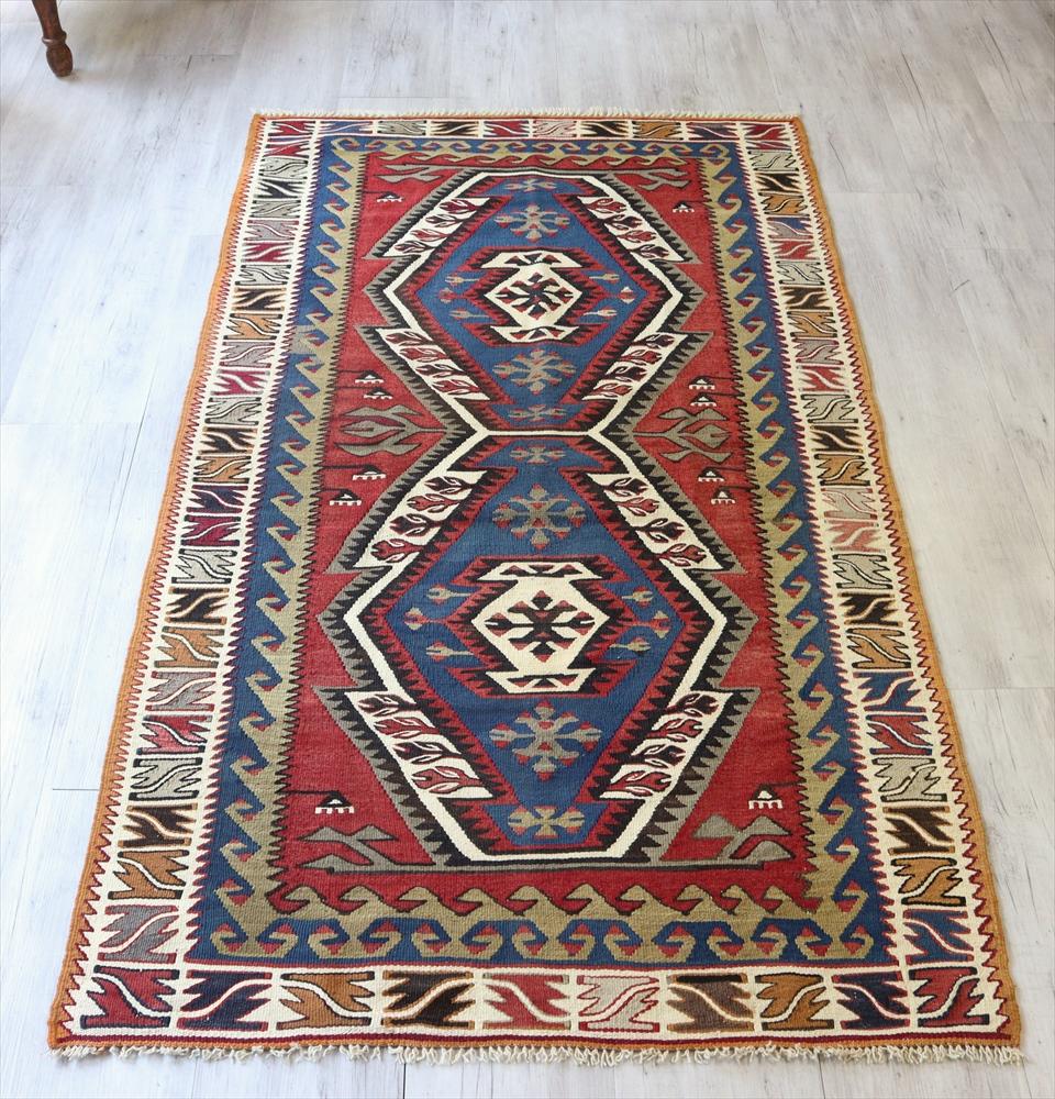 トルコキリム・アダナ/手織り ウール100%200×110cmセッヂャーデ 2つのエリベリンデ